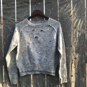 Forever 21 distressed grey sweater